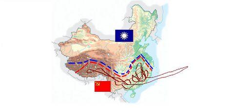 """9 novembre 1934: il giorno successivo i cinesi perdono il controllo di molti territori, perché l'esercito di Chiang Kai Shek ha saccheggiato moltissime città durante la notte. Prima che il generale arrivi nell'accampamento di Mao, quest'ultimo riesce a radunare gran parte dei suoi uomini e a scappare. Ha così inizio la """"Lunga marcia a casaccio"""" (segnalata in rosso scuro sulla mappa), la più grande figura di merda ritirata nella storia della Cina. I soldati marciano velocissimamente in giro per la campagne, mentre i combattenti del Kuomintang li inseguono con forconi e fiaccole accese."""