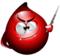 Mascotte AVIS a forma di goccia di sangue con coltello sporco di sangue e denti da vampiro.png